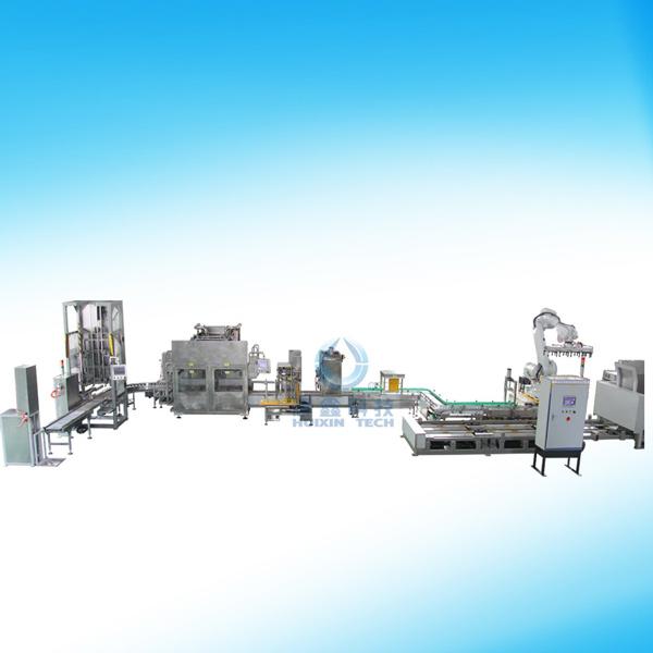 集瀚自动化设备超长全自动液体涂料灌装自动线带码垛机械手