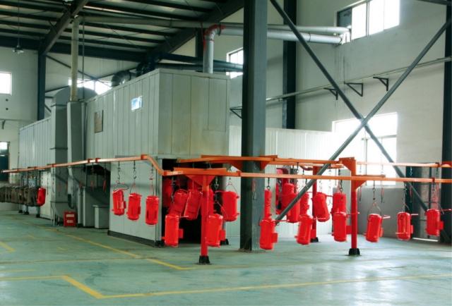 交通护栏喷塑流水线无锡博兰德环保喷塑机对复杂工件的上粉率98.99%